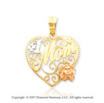 14k Two Tone Gold Milgrain Rose �#1 Mom� Heart Pendant